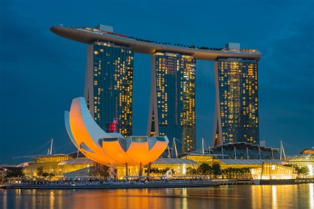 The Marina Bay Sands hotel in Singapore at night
