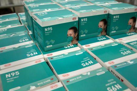 Boxes of N95 masks.