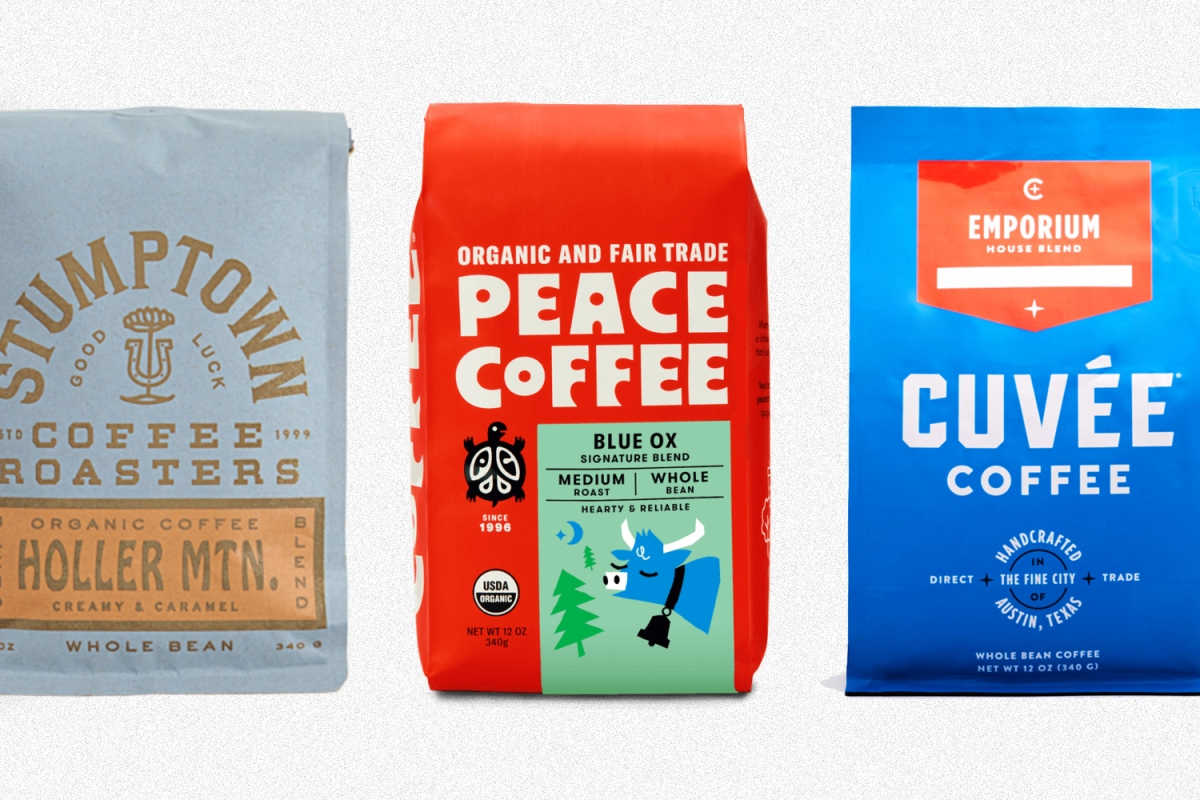 Bags of coffee beans from Stumptown, Peace and Cuvee