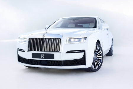 The new 2021 Rolls-Royce Ghost car in white