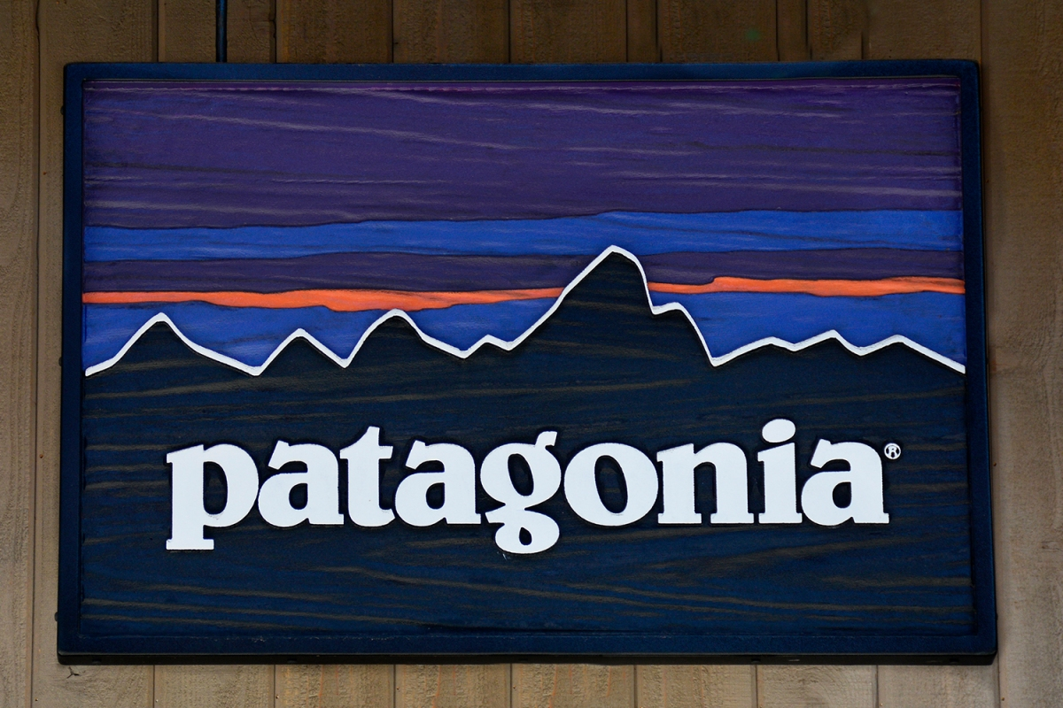 A sign hangs over the entrance to the Patagonia outdoor clothing shop in Vail, Colorado