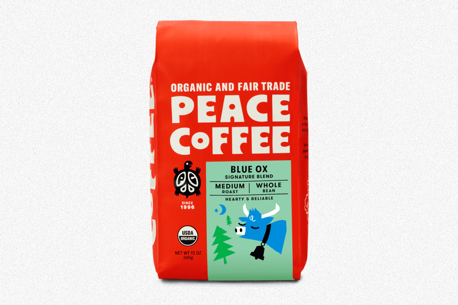 A bag of Blue Ox beans from Peace Coffee