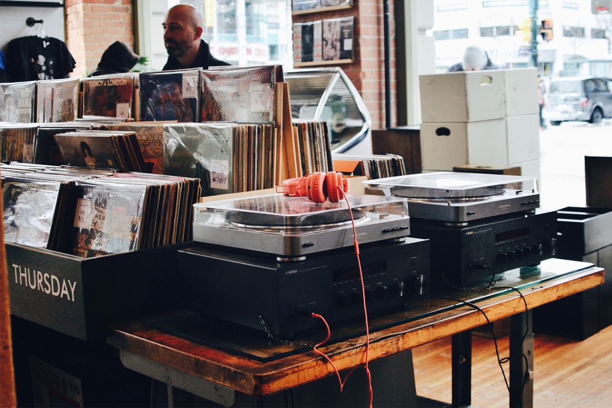 record players at a record store in Seattle