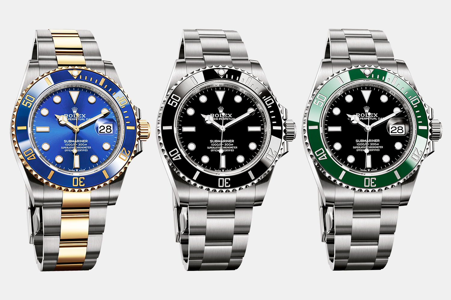The new 2020 Oyster Perpetual Submariner and two Oyster Perpetual Submariner Date watches