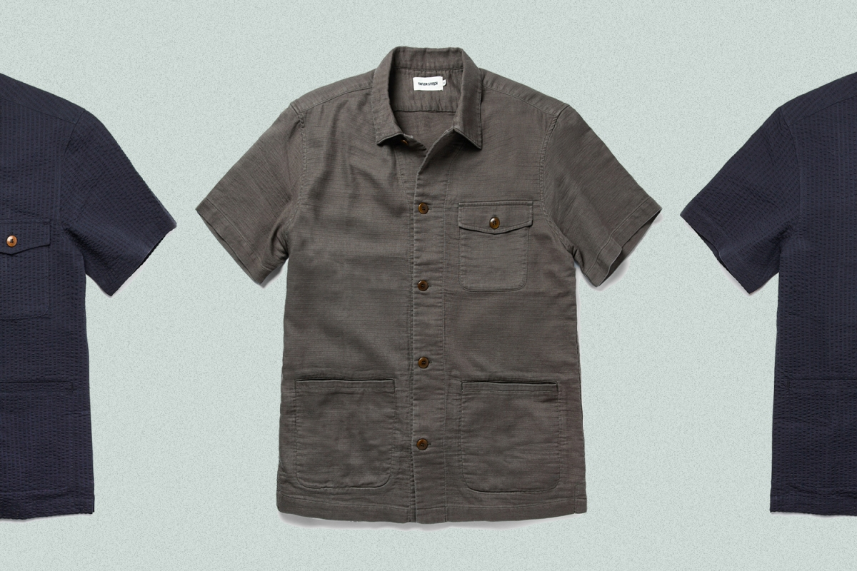 The Hemingway shirt from Taylor Stitch in walnut double cloth and navy seersucker