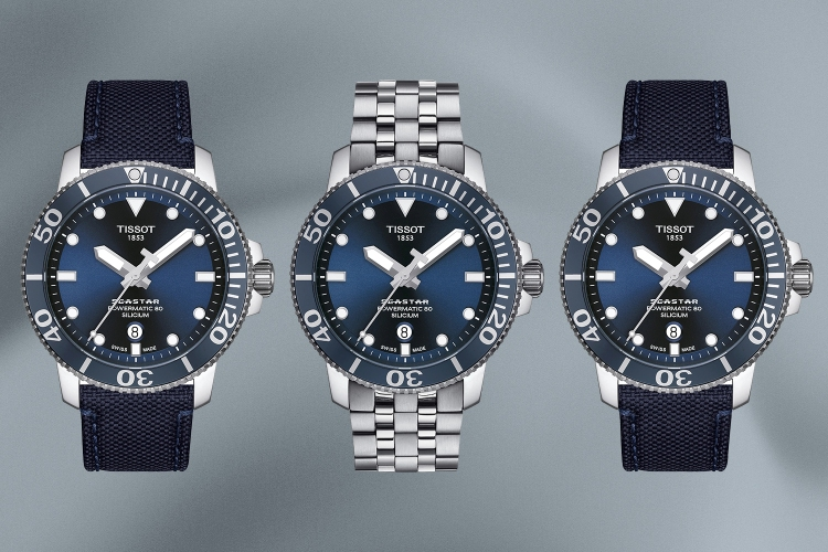 The Tissot Seastar 1000 Powermatic 80 entry level dive watch with a fabric strap and stainless steel bracelet