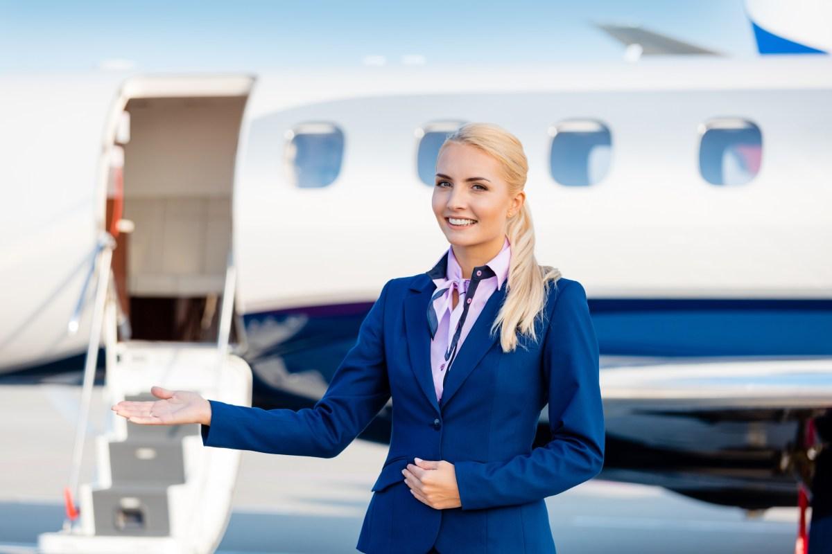 young blonde flight attendant