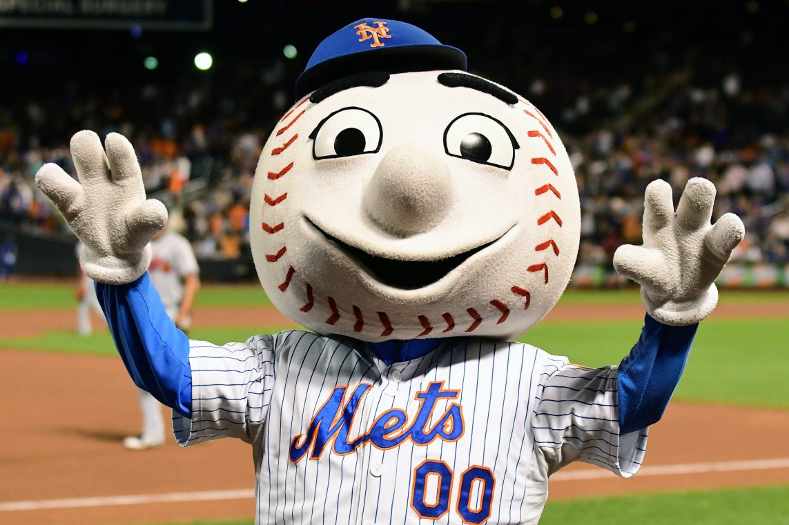 Mr Met riles up the crowd during a MLB game between at Citi Field in Flushing.