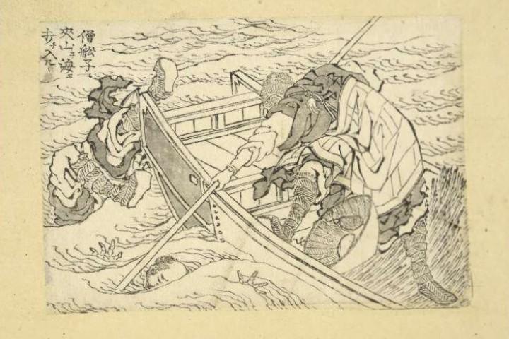 Monk Chuanzi throwing Jiashan into the sea