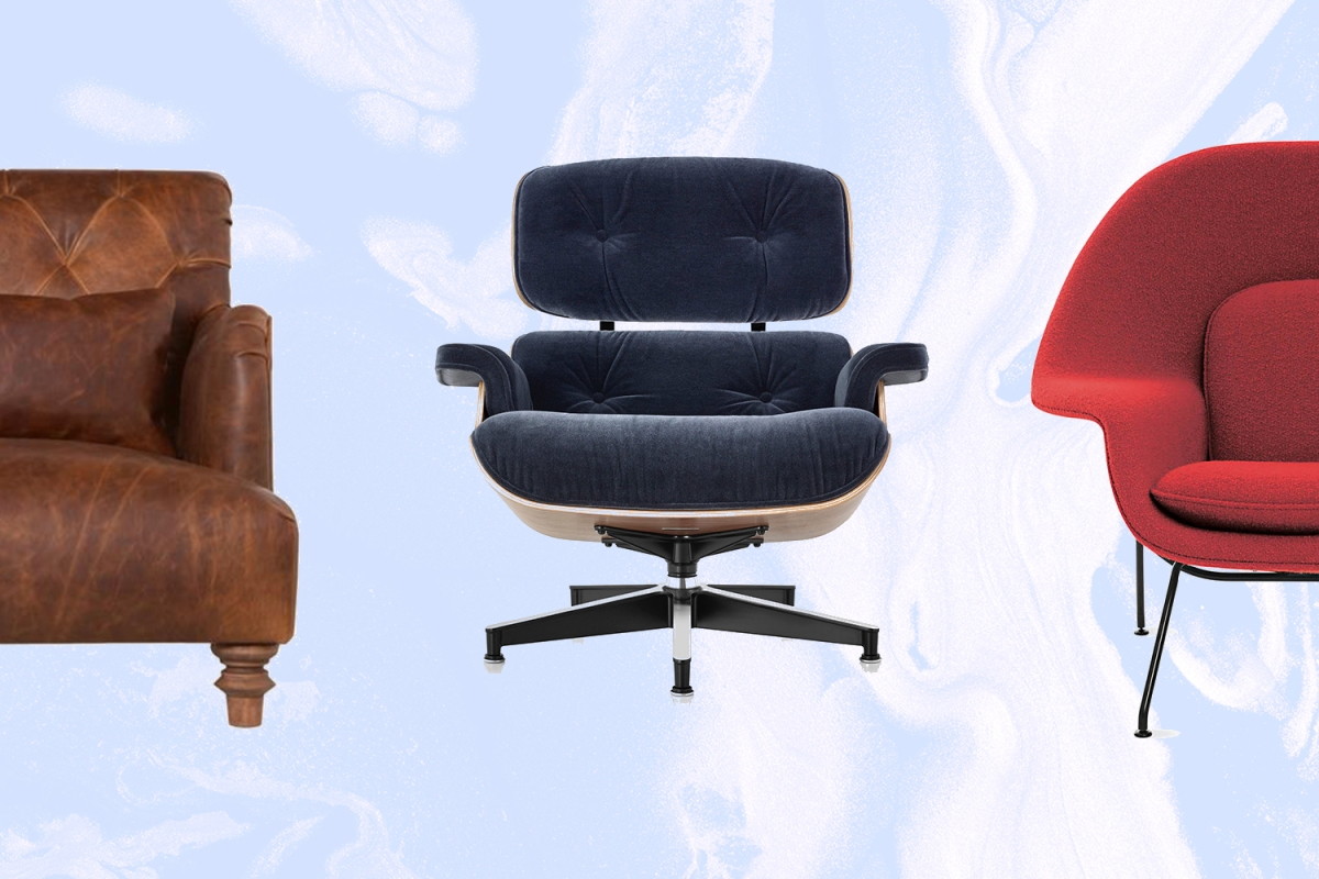 The Cisco Home Acacia leather chair, the Eames Lounge Chair and the Womb Chair
