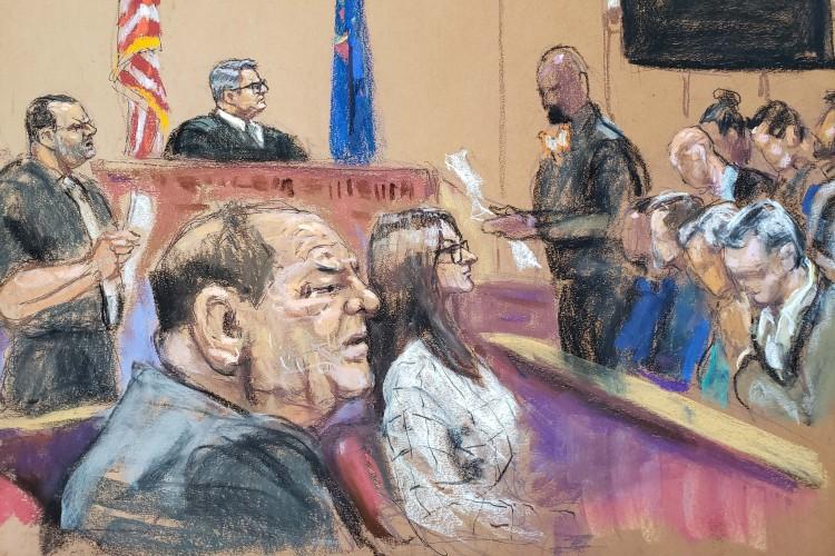 harvey weinstein courtroom drawing