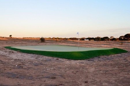 Hole number four, the Wombat Hole, at Nullarbor Links, the world's longest golf course in Australia