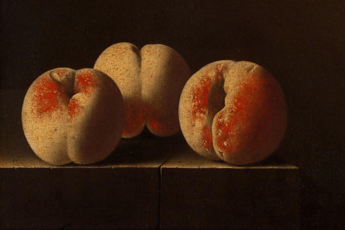 Three Peaches on a Stone Plinth by Adriaen Coorte, 1705