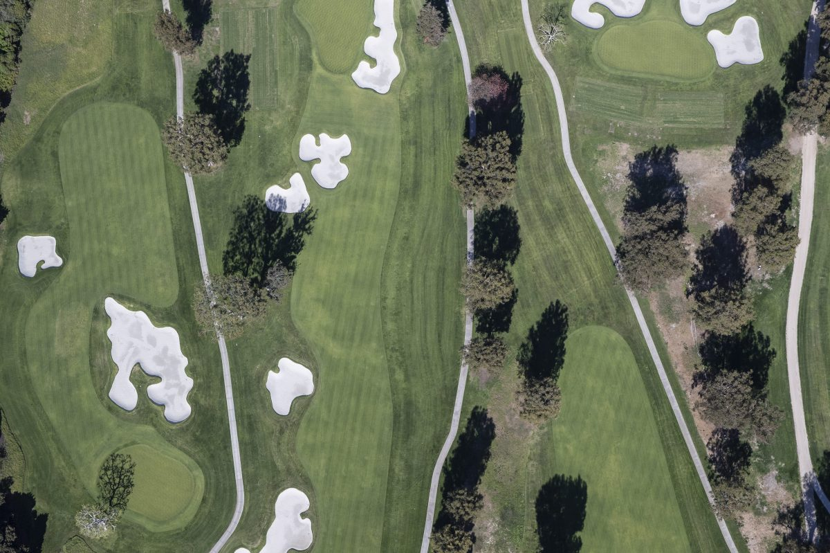An aerial view of Riviera Golf Course in Los Angeles.