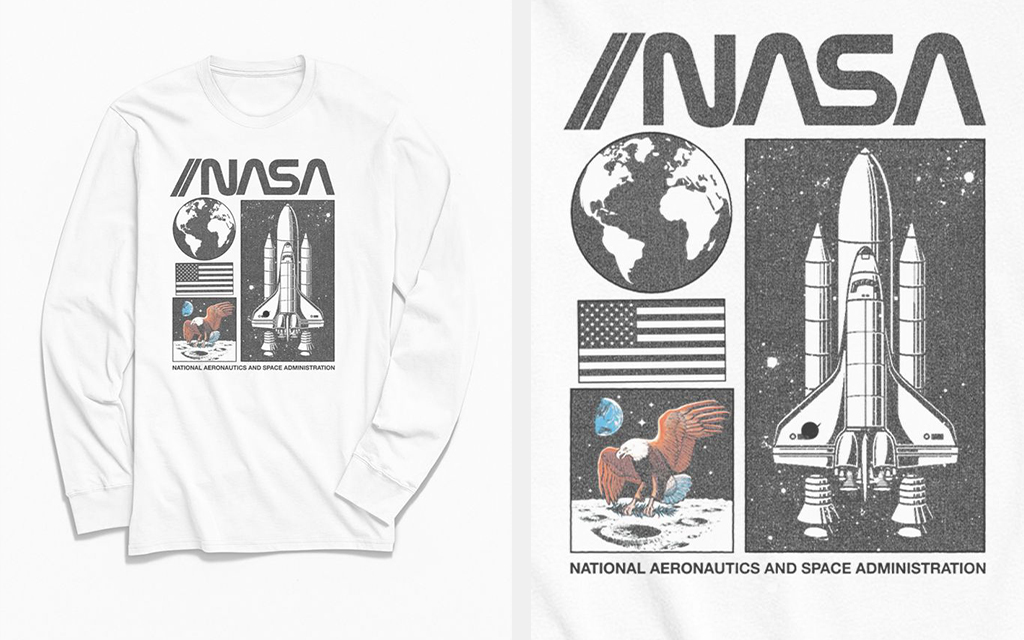 Urban Outfitters NASA Collage Panel Long Sleeve T-Shirt