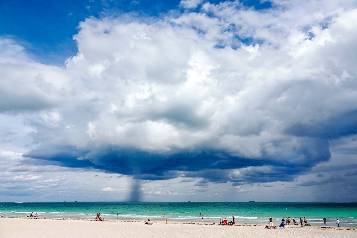 Clouds over the ocean on a beach in Miami