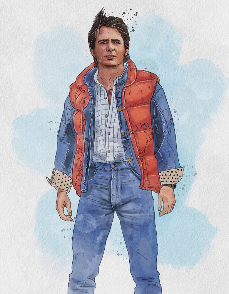 michael j fox marty mcfly back to the future outfit fashion