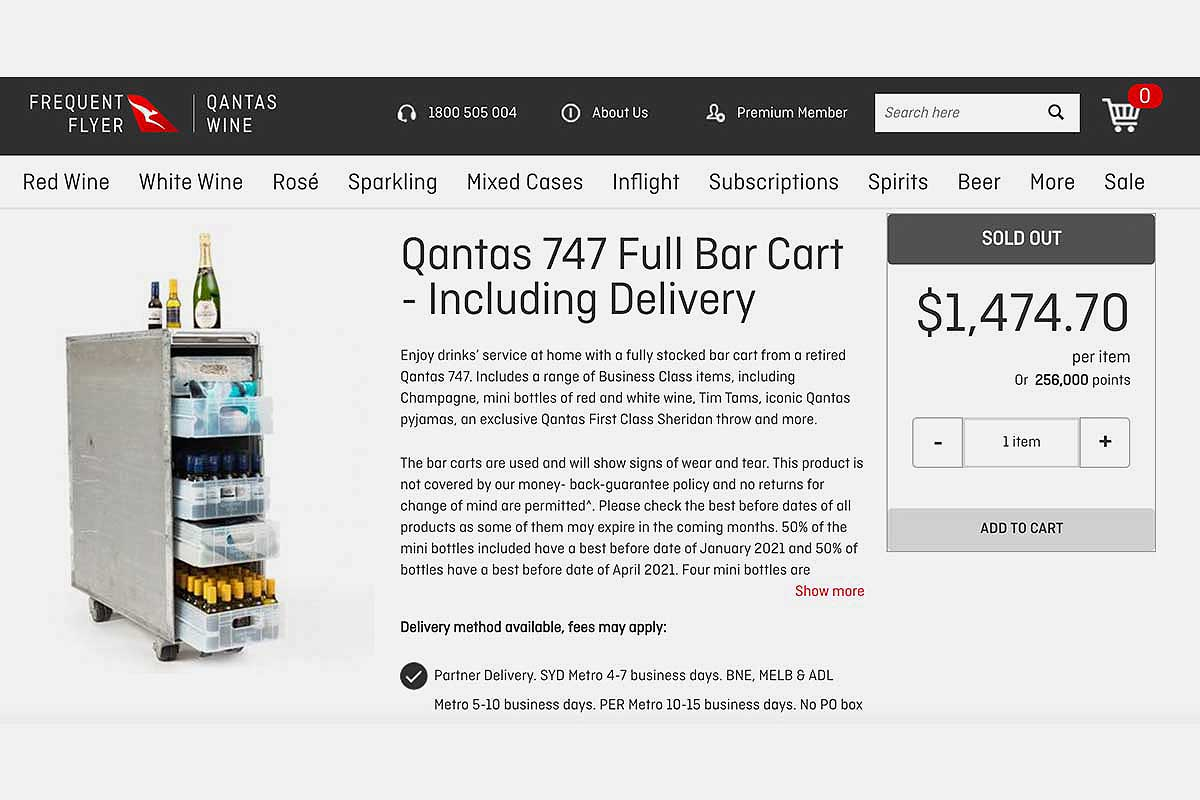 online listing for a Qantas 747 full bar cart