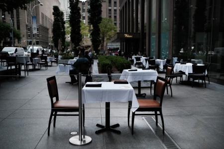 empty outdoor dining table in new york