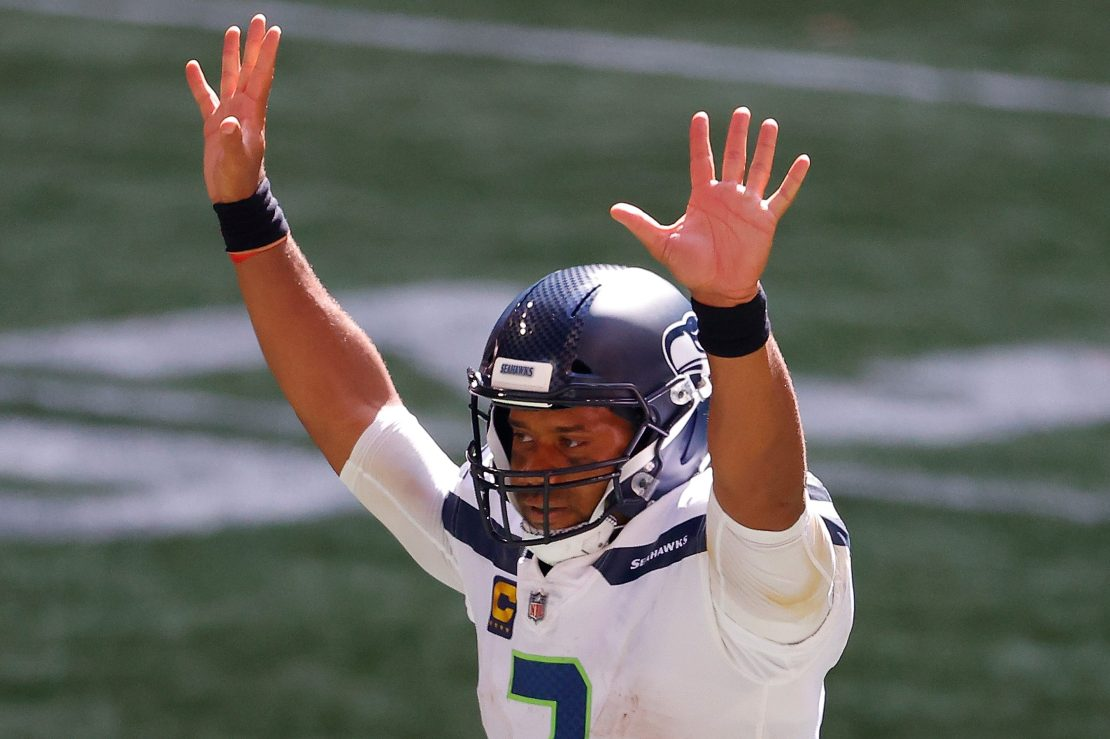 Russell Wilson of the Seattle Seahawks reacts after a rushing touchdown.