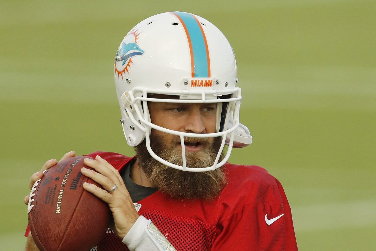 Ryan Fitzpatrick of the Miami Dolphins throws a pass during practice.
