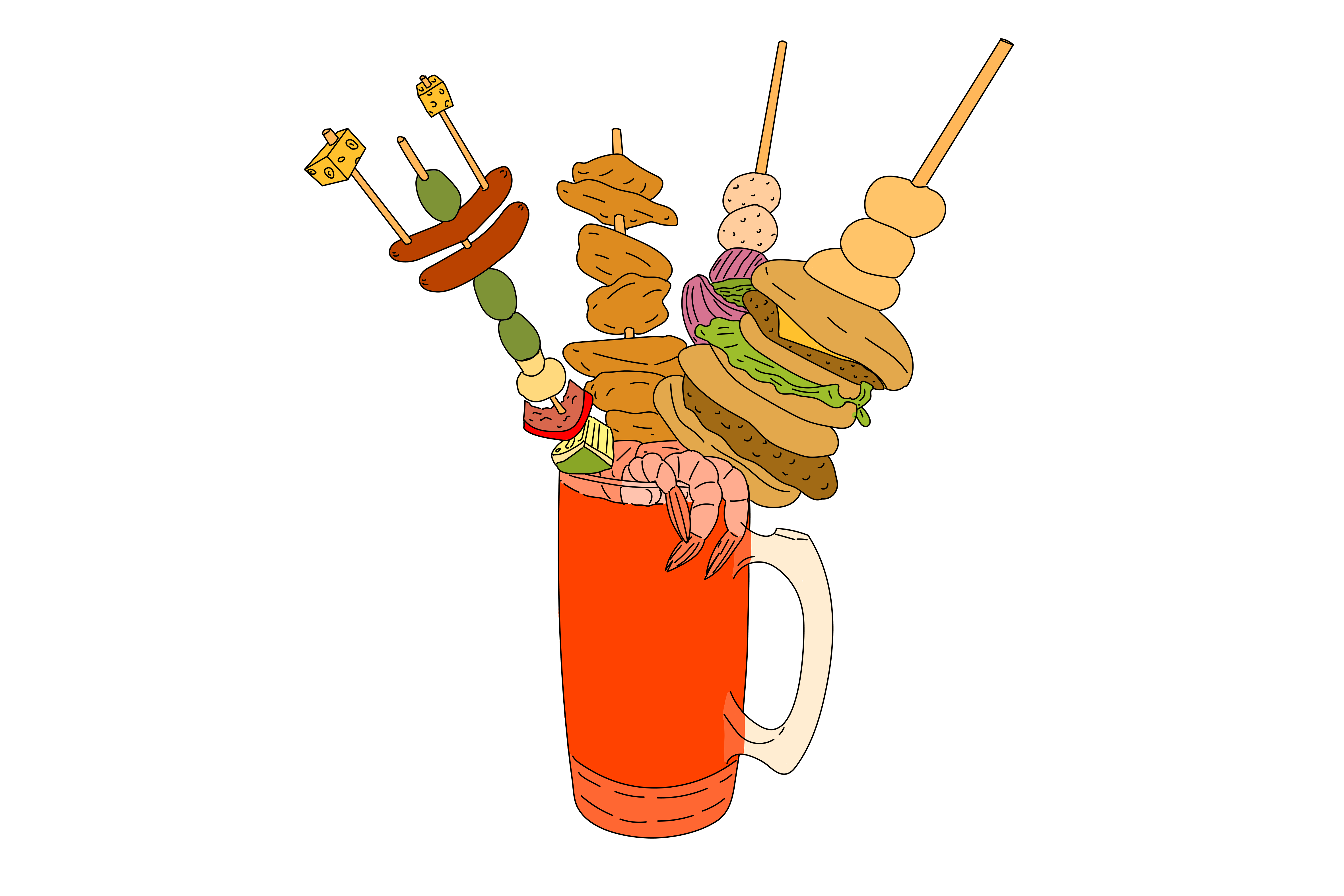 A Bloody Mary, with all the accoutrements.