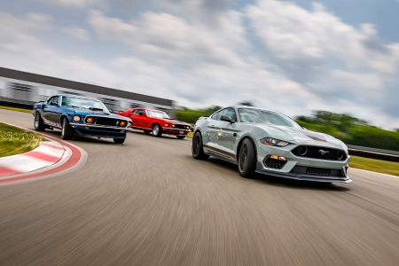 new and old Mustang Mach 1 cars