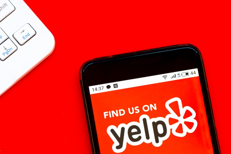 yelp app on a phone