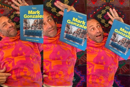 Skateboarder Mark Gonzales with his new book