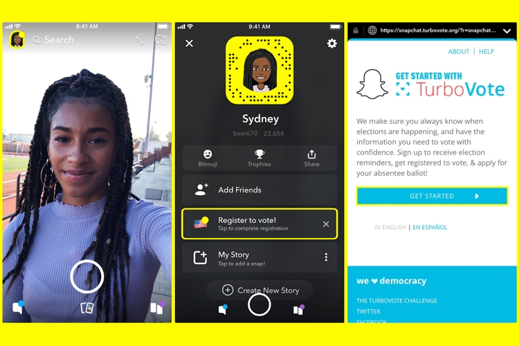 Snapchat app screen to register to vote