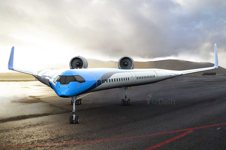 A composite of the new Flying-V aircraft