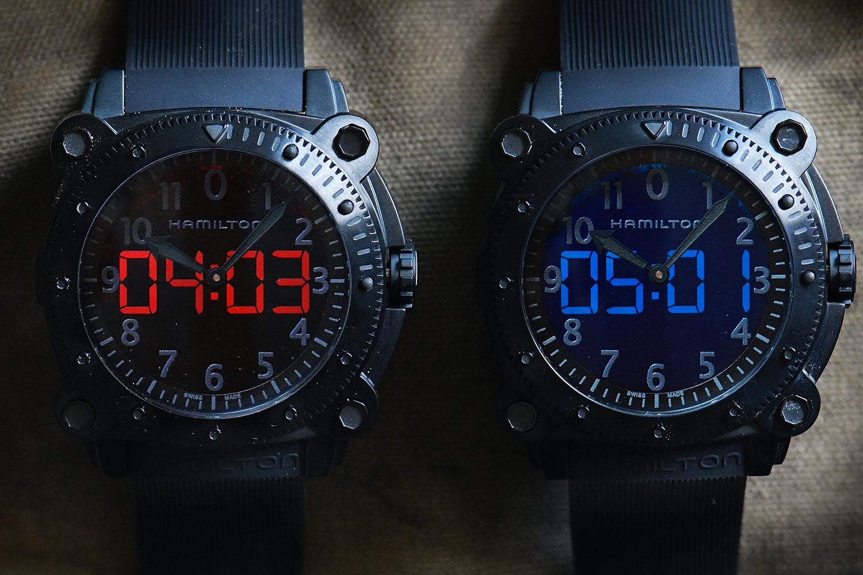 Red and blue Hamilton Khaki Navy BeLOWZERO watches from Tenet