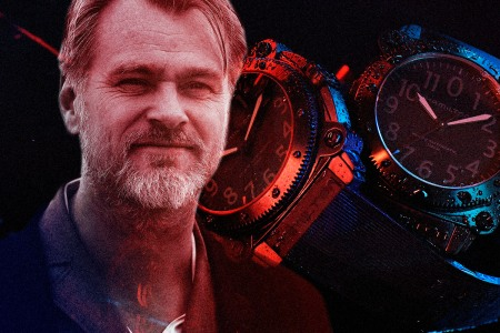 Director Christopher Nolan and two watches from Tenet