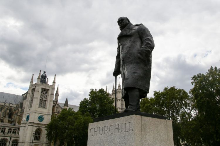 The statue of Sir Winston Churchill in Parliament Square