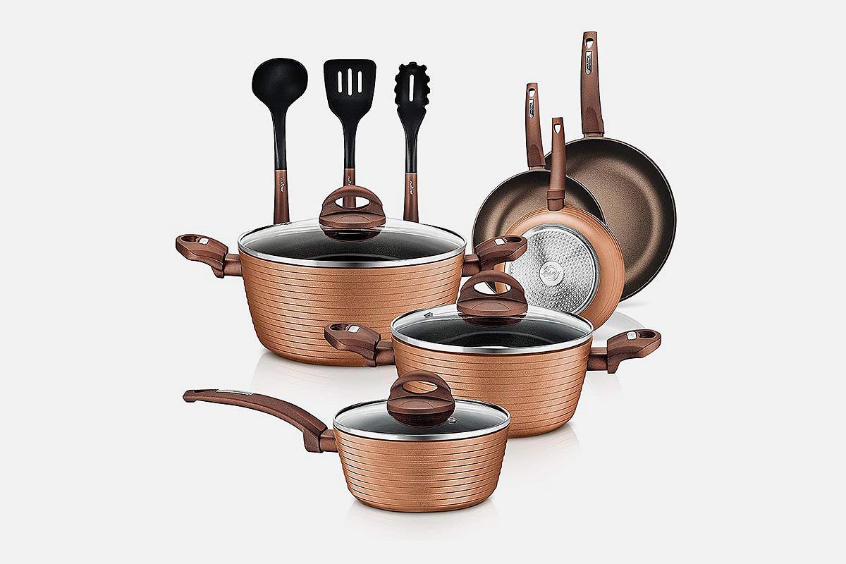 NutriChef 12-Piece Nonstick Kitchen Cookware Set
