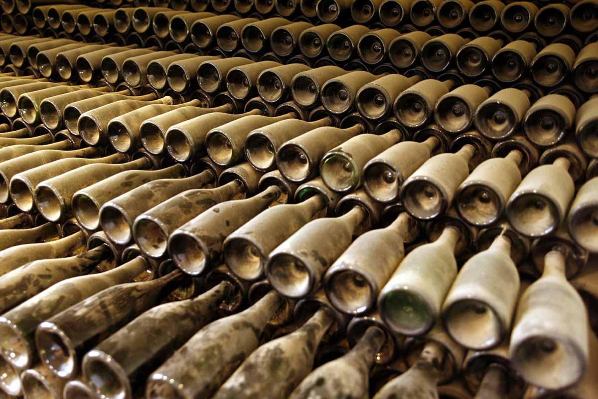 Dusty booze bottles