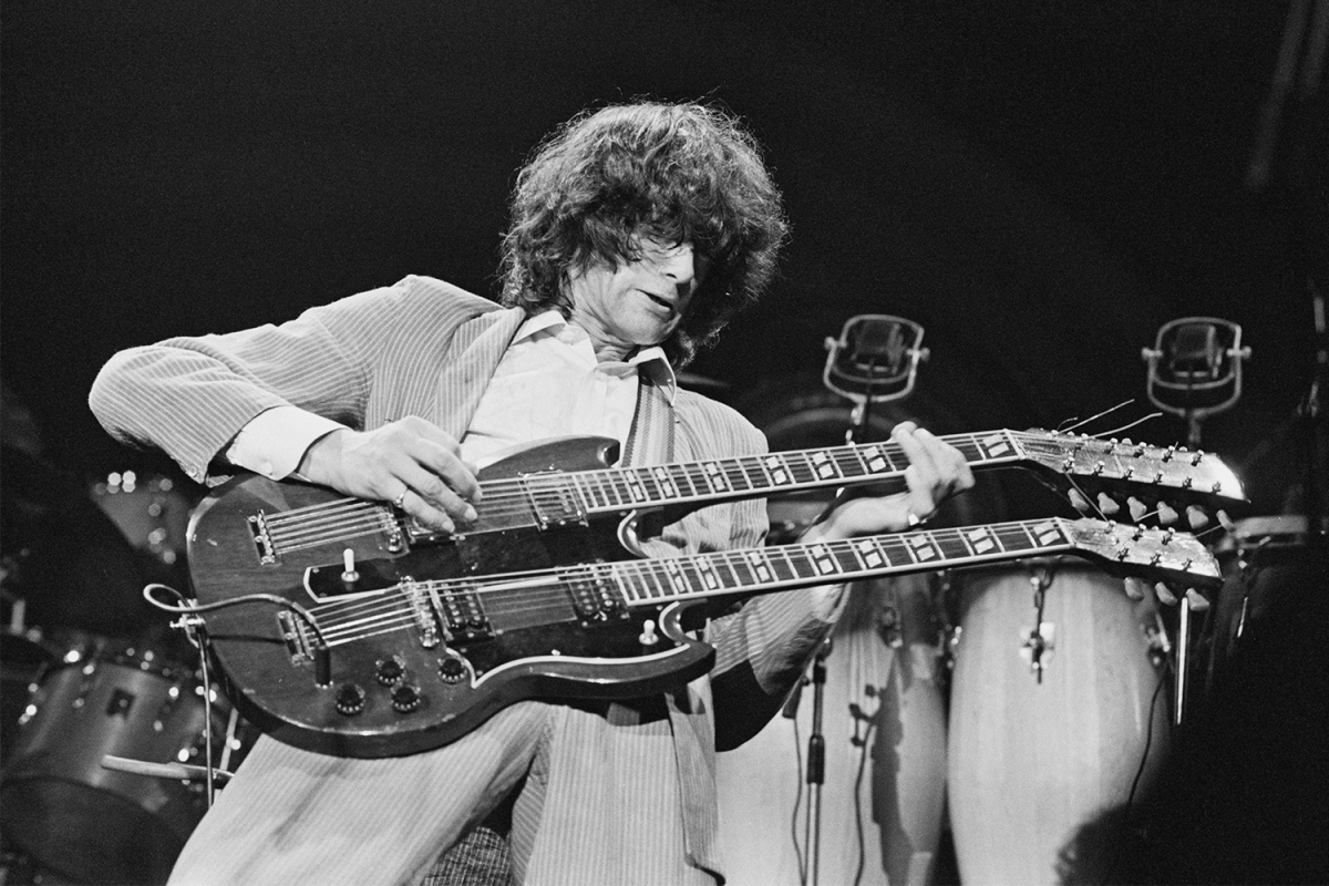 """Jimmy Page playing """"Stairway to Heaven"""" on a double neck guitar"""