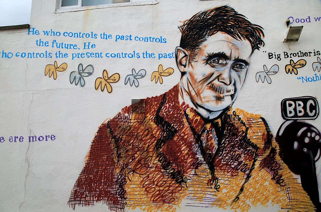 George Orwell mural picture Southwold, Suffolk, England, Uk