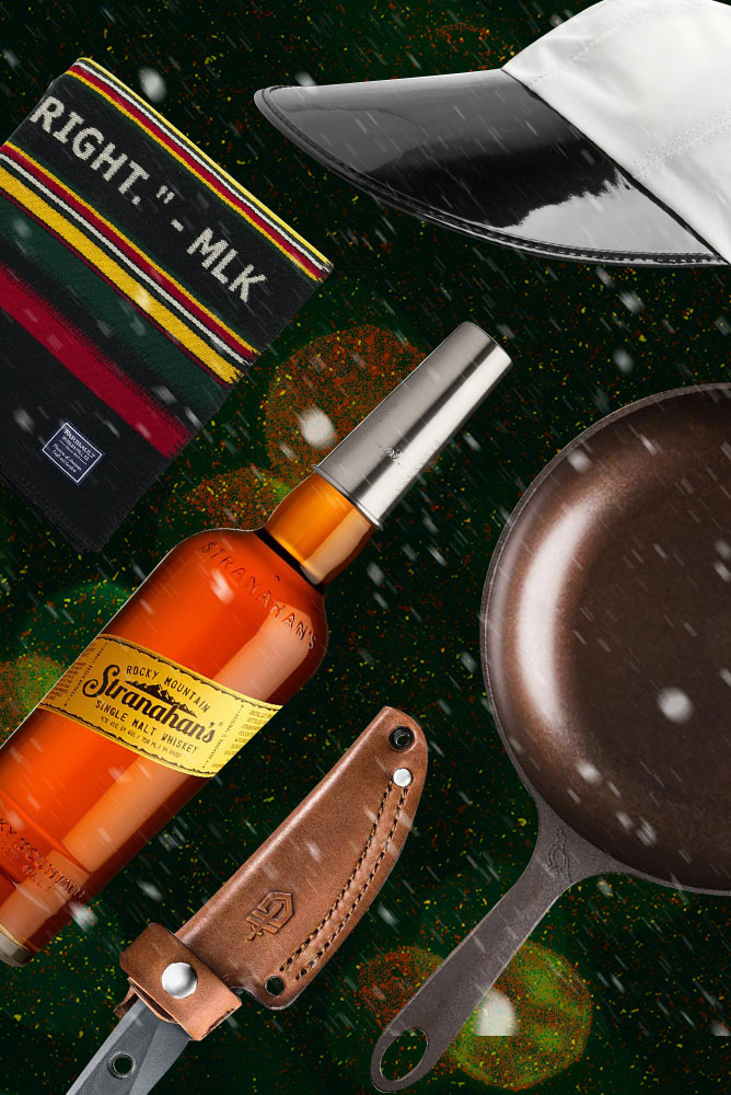 blankets,whiskey, knives and skillets