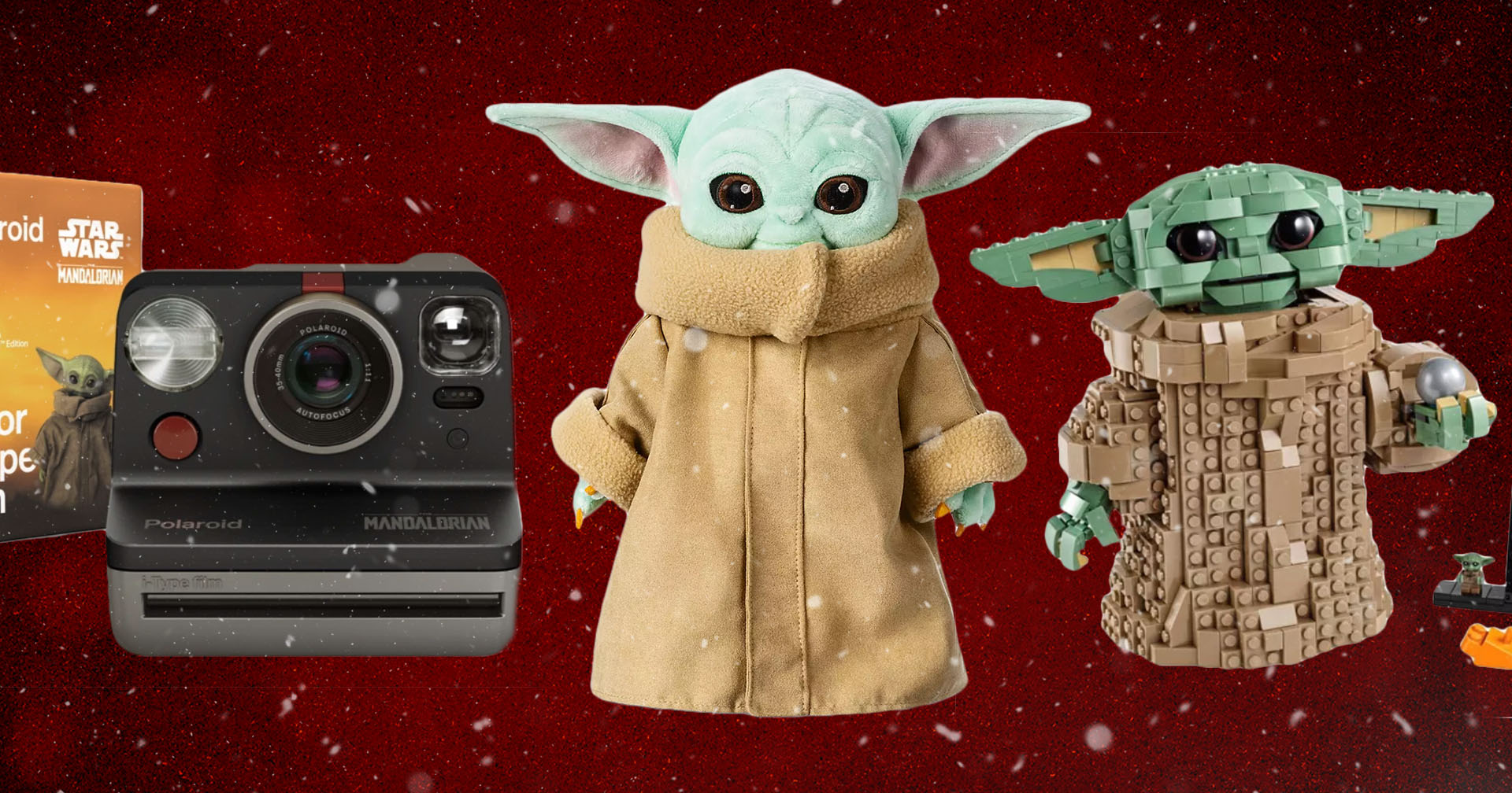 Baby Yoda cameras, plush toys and legos