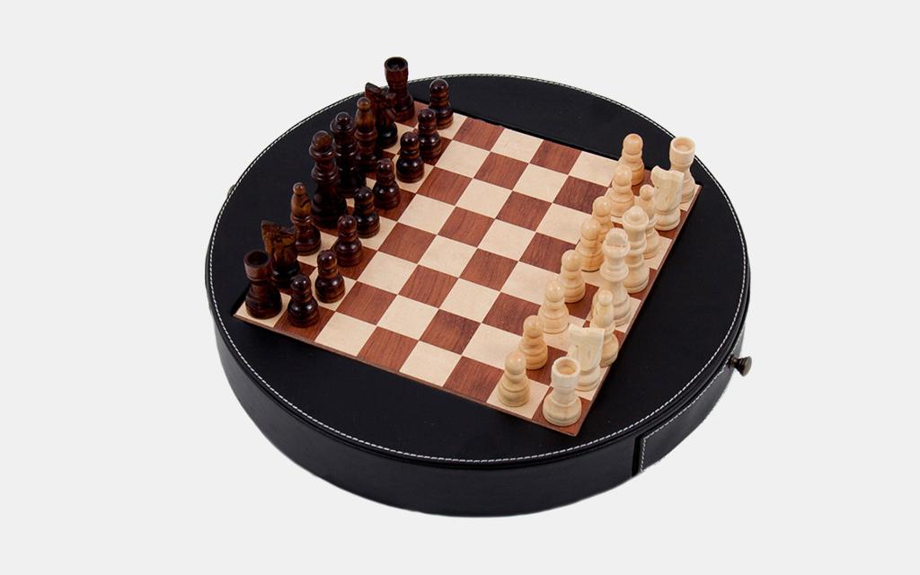 Bey-Berk Leather Chess Set