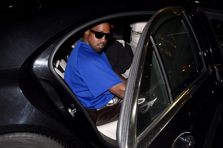 Kanye West blue shirt
