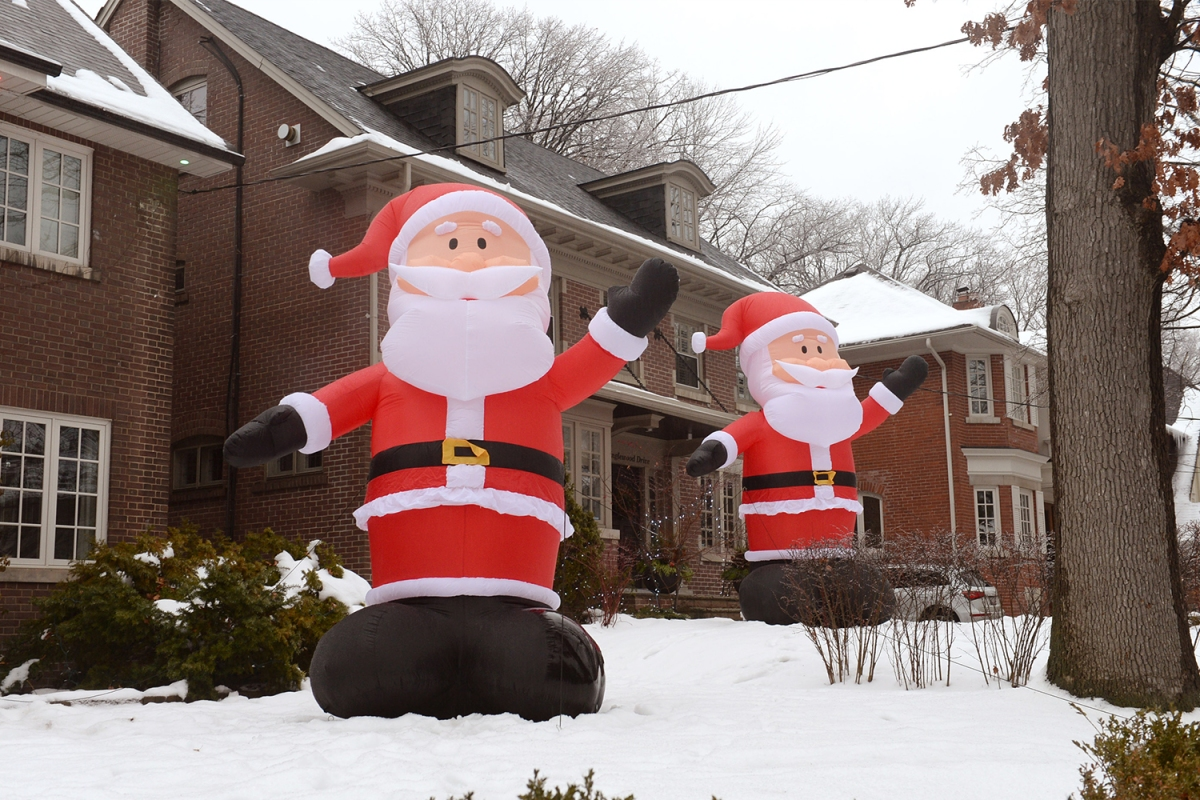 Inflatable Santas of Kringlewood in Toronto, Canada