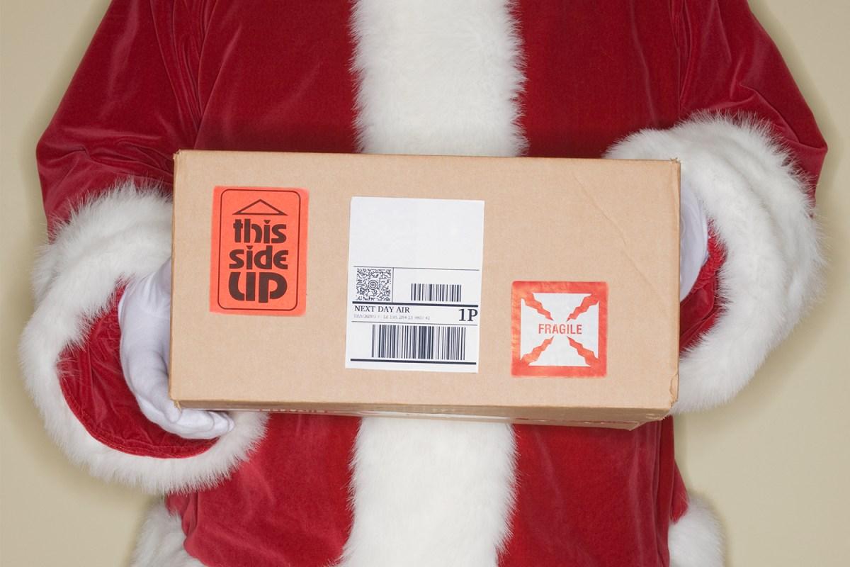 santa claus shipping box
