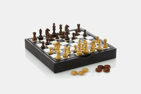 Traditional Wood and Leather Chess Set