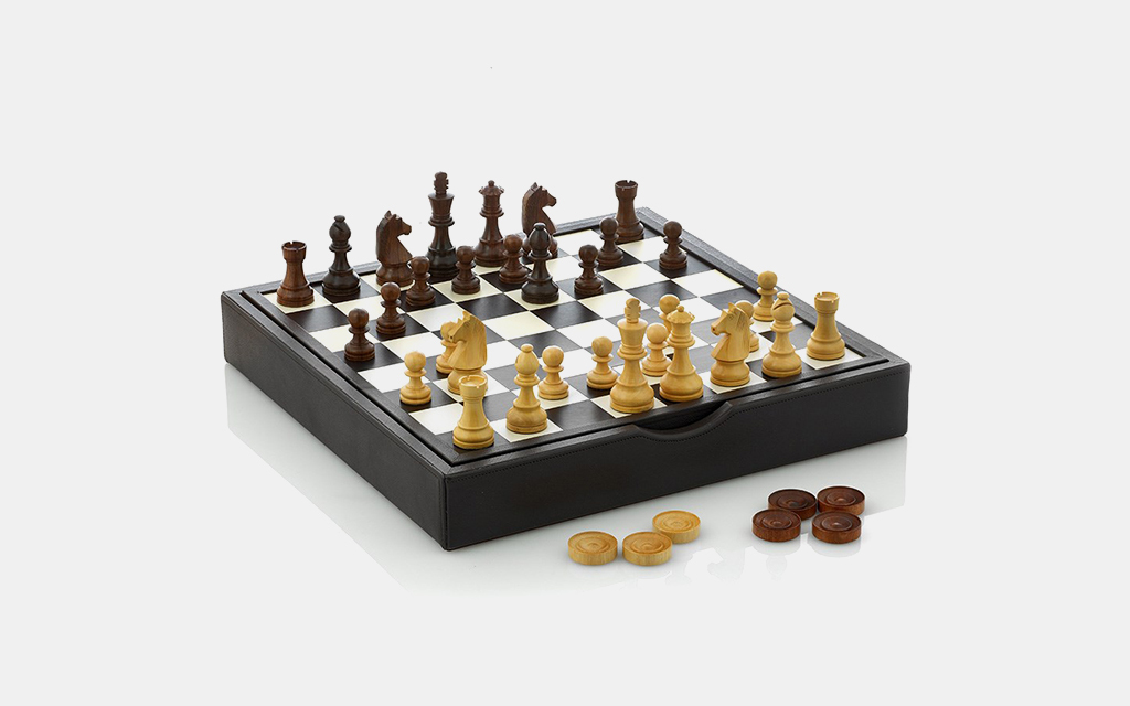 Scully & Scully Wood and Leather Chess Set