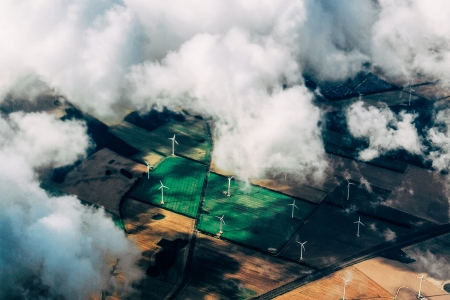aerial photo wind farm