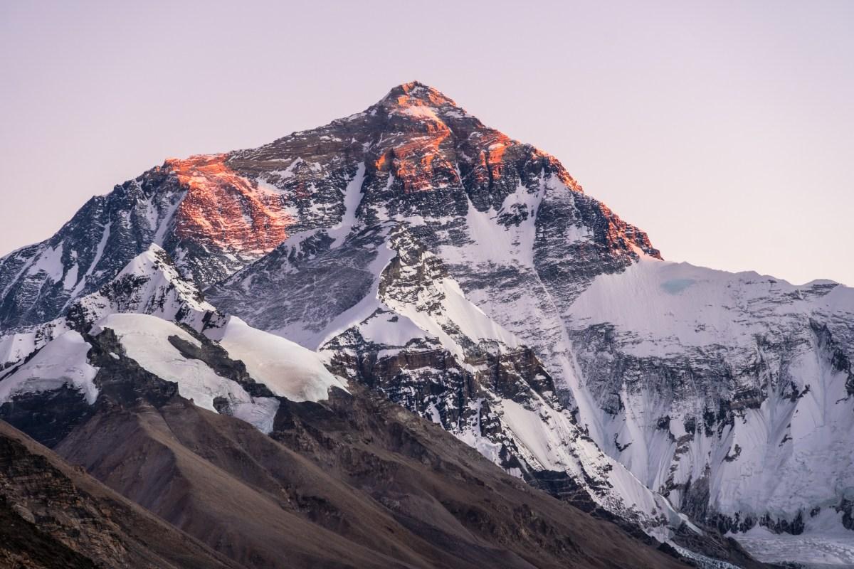 Sunset over Mt Everest from Tibet