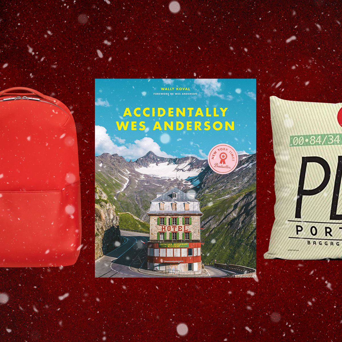 backpacks, wes anderson books, airport pillows