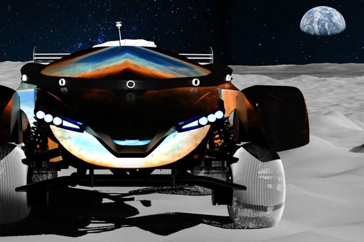 Moon Mark racing cars on the moon